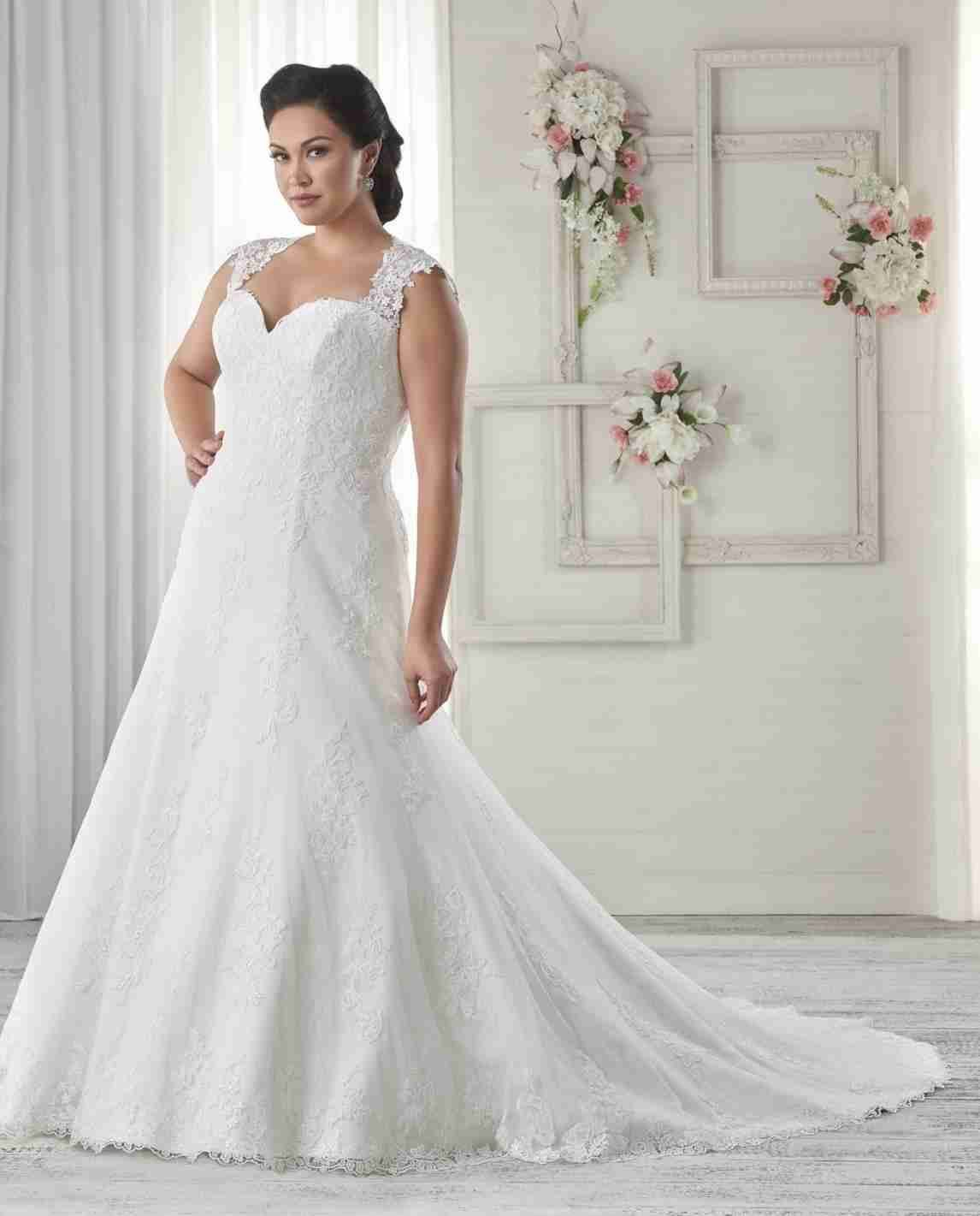 New Post Wedding Dresses Sweetheart Neckline Fit And Flare Plus Size