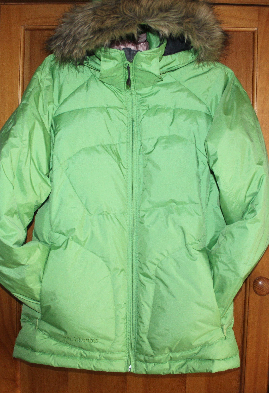 3eec3b16871d7 Columbia Omni-Tech Faux Fur Hood Light Green Apple Ski Snow Down ...