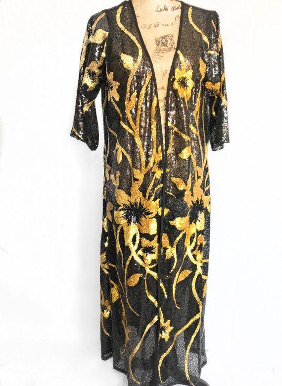 5e05b5f1138651 Sequin Kimono - Gold   Black - Festival Clothing - Burning Man ...