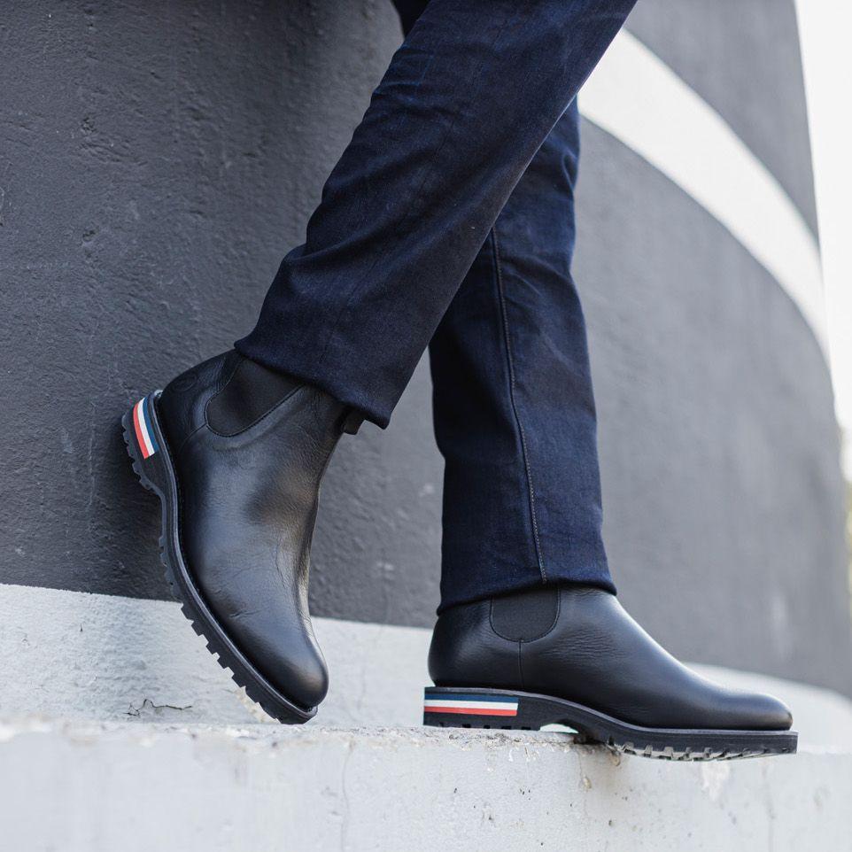 bottines soft en cuir noir homme