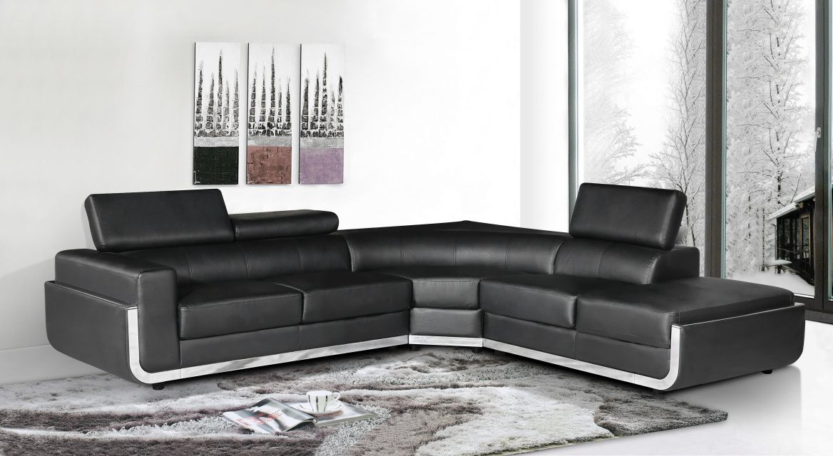 The Millennium 3 Pcs Sectional is a great addition to your living room or entertainment room for your home.  Its special features chrome panel, birch wood construction, upholstered in Bonded Leather with adjustable head rest for your own comfort.