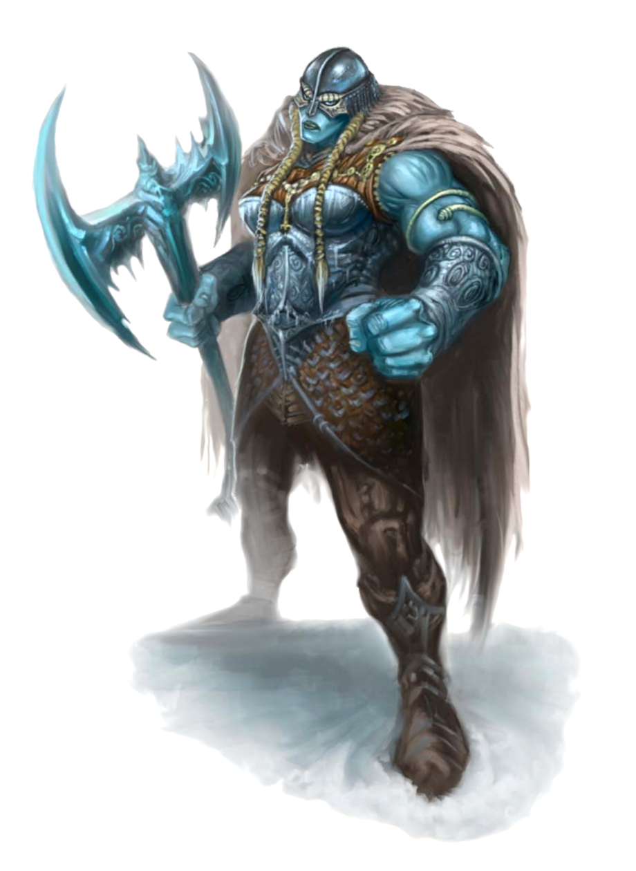 Female Frost Giant Barbarian - Pathfinder PFRPG DND D&D 3 5