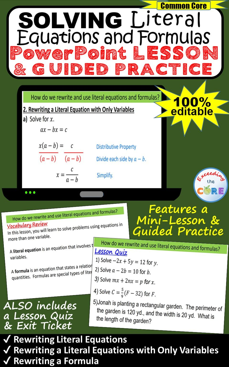 Solving Literal Equations Formulas Powerpoint Mini Lesson Guided