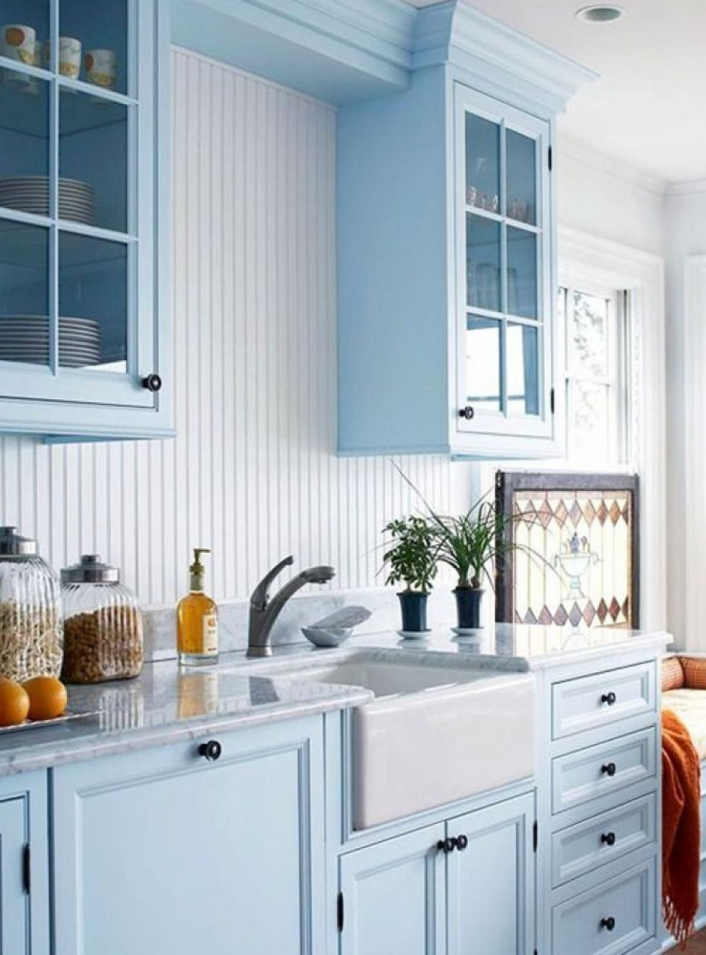 Light Blue Kitchen Cabinets Colors With White Apron Sink In The ...