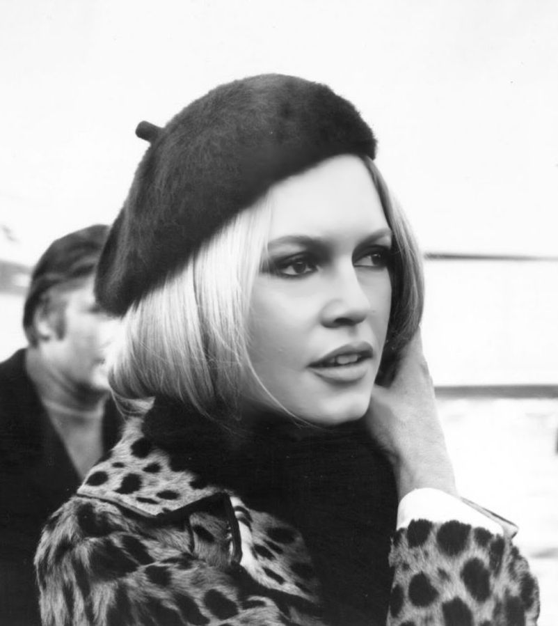 66645450b36e6 Brigitte Bardot sporting the quitessential 60s beret and leopard coat