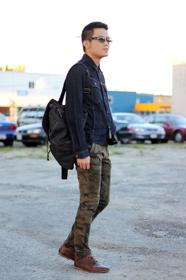 Geared Up : Denim Jacket + Camouflage Pants Nice Cool And