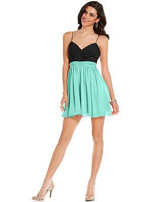 2d87577dc Hailey Logan Juniors Dress, Spaghetti-Strap Pleated Cutout A-Line ...