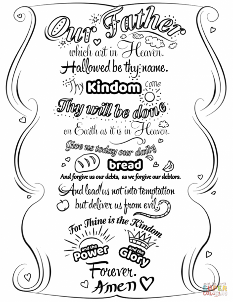 Glory Be Prayer Coloring Pages Prayers For Children The Lords Prayer Lord S Prayer