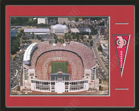 This Framed Aerial View Of The Ohio State University Team Stadium With A Ohio State University Mini Pennant Double Ohio Stadium Ohio State Ohio State Football
