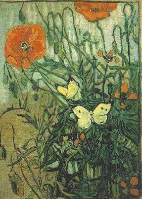 Vincent Van Gogh Mohnblumen Und Schmetterlinge Van Gogh Art Van Gogh Paintings Vincent Van Gogh Paintings