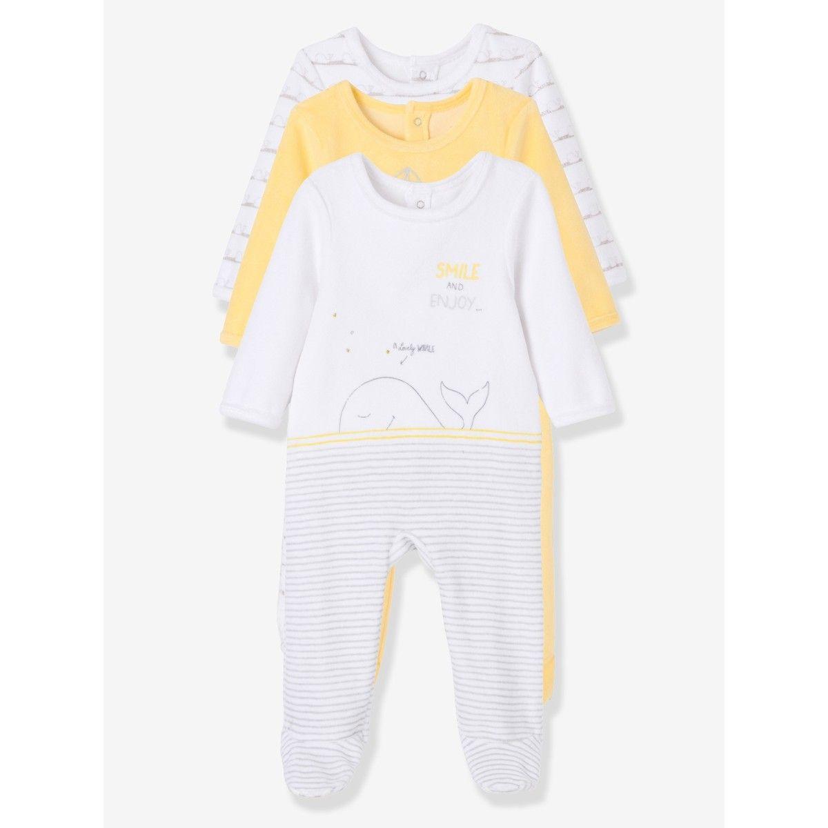 0c414c139e9f3 Lot de 3 pyjamas bébé en velours imprimé pressionnés dos Vertbaudet jaune imprimé  multicolore