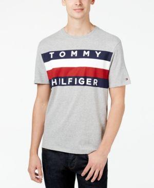 Tommy Hilfiger Men S Upstate Logo Flag T Shirt Gray Xxl Tommy Hilfiger Man Mens Tshirts
