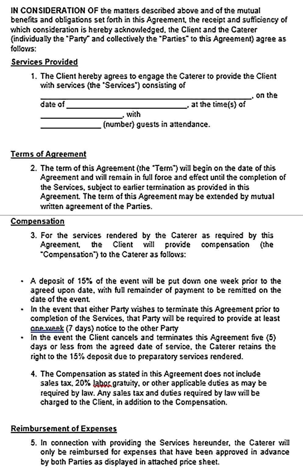 Sample Catering Service Agreement Template Catering Services Catering Templates