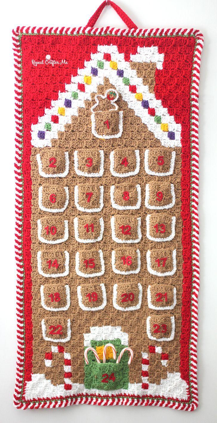 Crochet C2C Gingerbread House Advent Calendar | Arte de guijarros ...