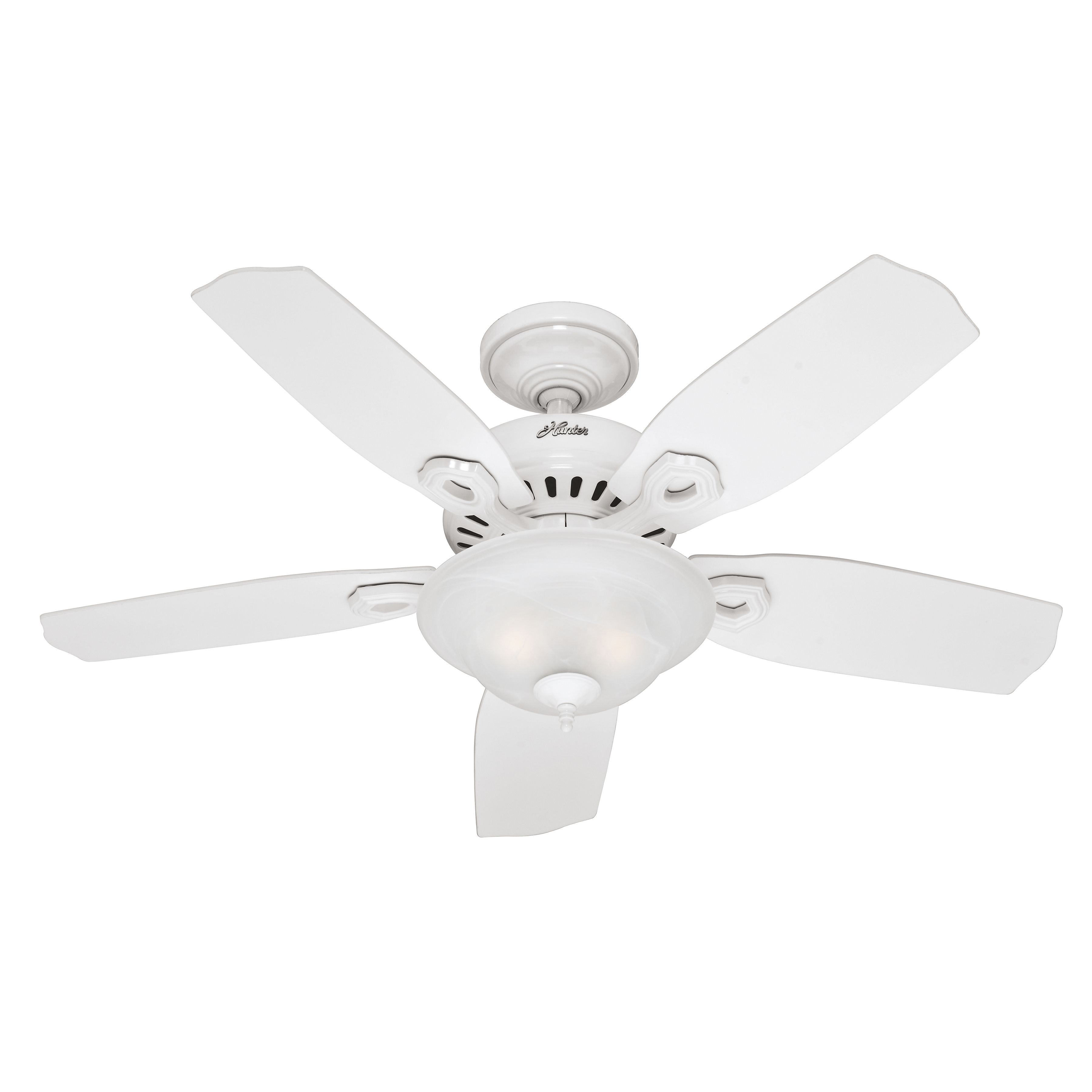 #Hunter #44 #Inch White Finish #Ceiling #Fan With Swirled Marble Glass Light Kit 90% Preassembled. #Hunter #28706