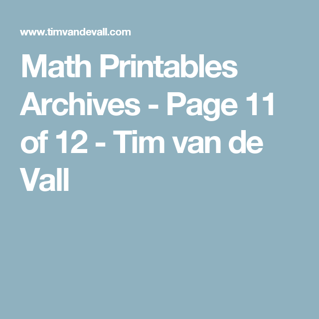 Math Printables Archives - Page 11 of 12 - Tim van de Vall ...