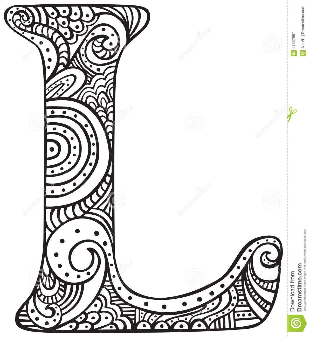 Illustration About Hand Drawn Capital Letter L In Black Coloring Sheet For Adults Illustration Of Font Doodle Lettering Coloring Letters Doodle Art Letters