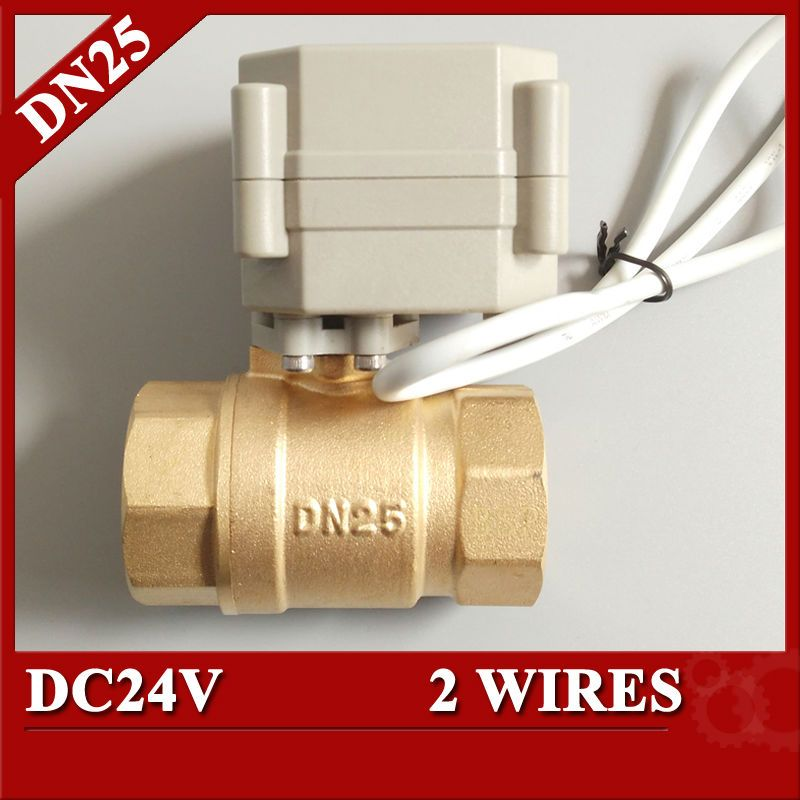 1 Dc24v 2 Way Electric Ball Valve Bsp Npt Dn25 Brass Motorized Operated Valve Control For Radiator Electric Water Valve Solar Heating System Control Valves
