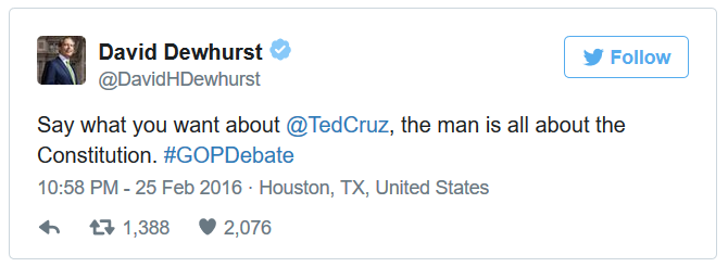 "The Man That Ted Cruz Upset in 2012 Just Made this Powerful Admission About Him - ""Say what you want about Ted Cruz, the man is all about the Constitution."" ~David Dewhurst @TedCruz #GOPDebate  Follow link to read more...."