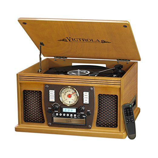 Victrola Nostalgic Aviator Wood 7-in-1 Bluetooth Turntable Entertainment Center