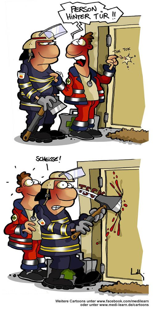 Person_hinter_Tuer | FIRE FIGHTERS | Funny, Funny Comics ...
