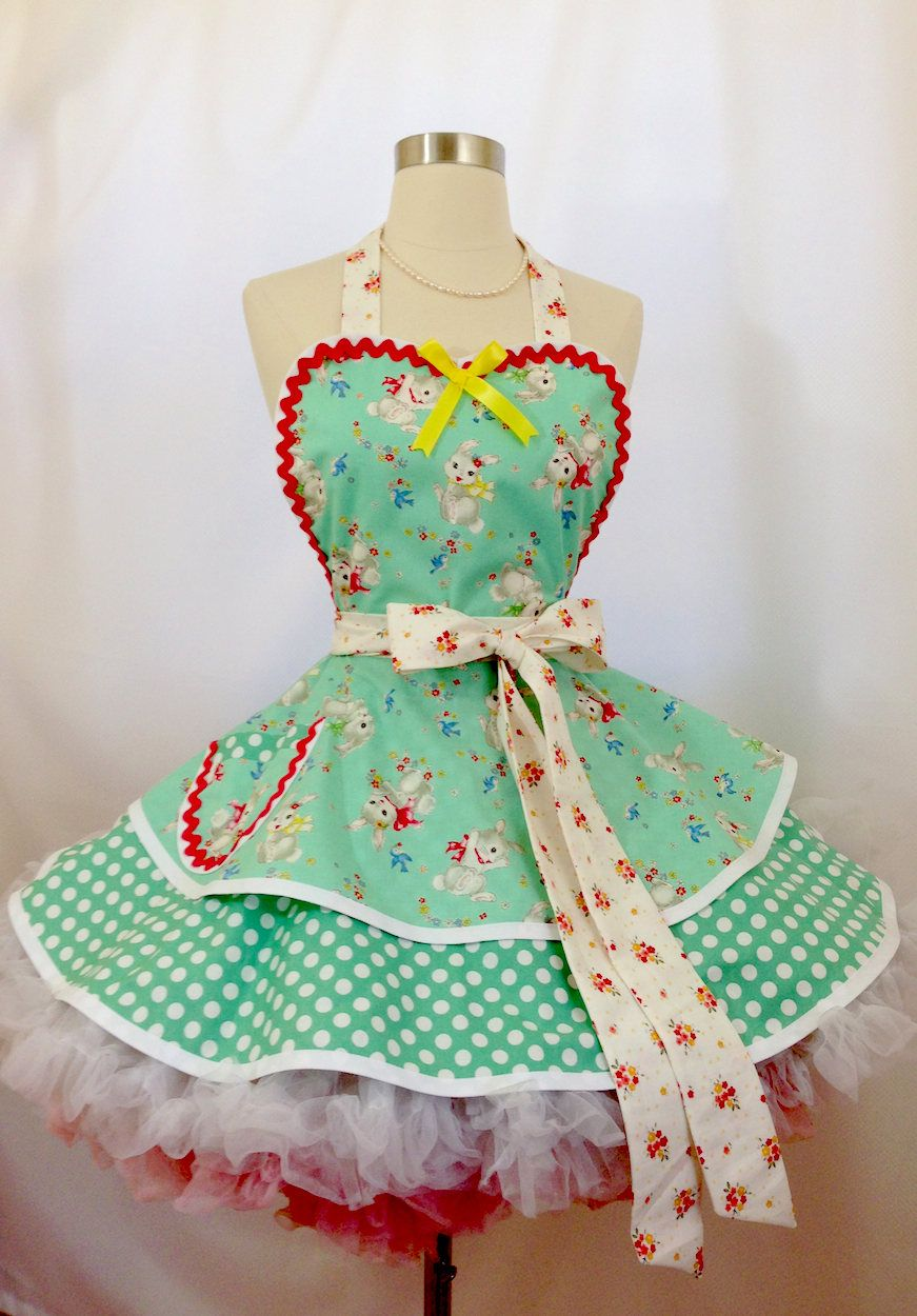 Easter gingham dress up apron