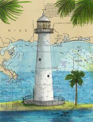 Mississippi Gulf Coast Paintings Biloxi Lighthouse Ms Nautical