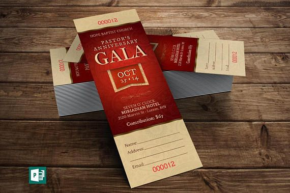 Pastor Appreciation Gala Ticket Publisher Template 6 Background Color Files Included