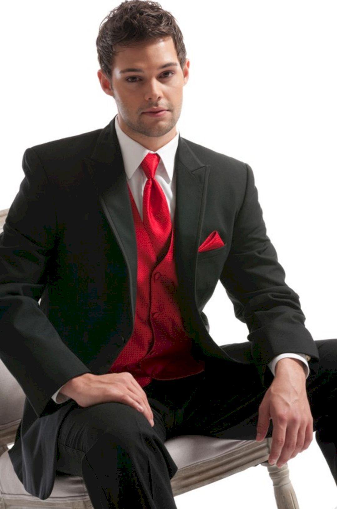 25+ Marvelous Red Black and White Wedding Tuxedo Ideas | Wedding ...