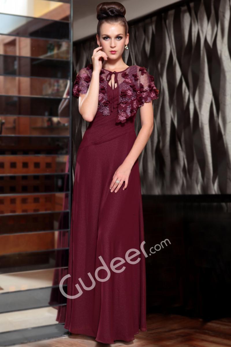 Wine flower short sleeve pleated bodice long aline evening prom