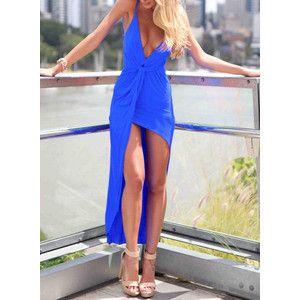 Deep Plunge Neck High Low Blue Dress