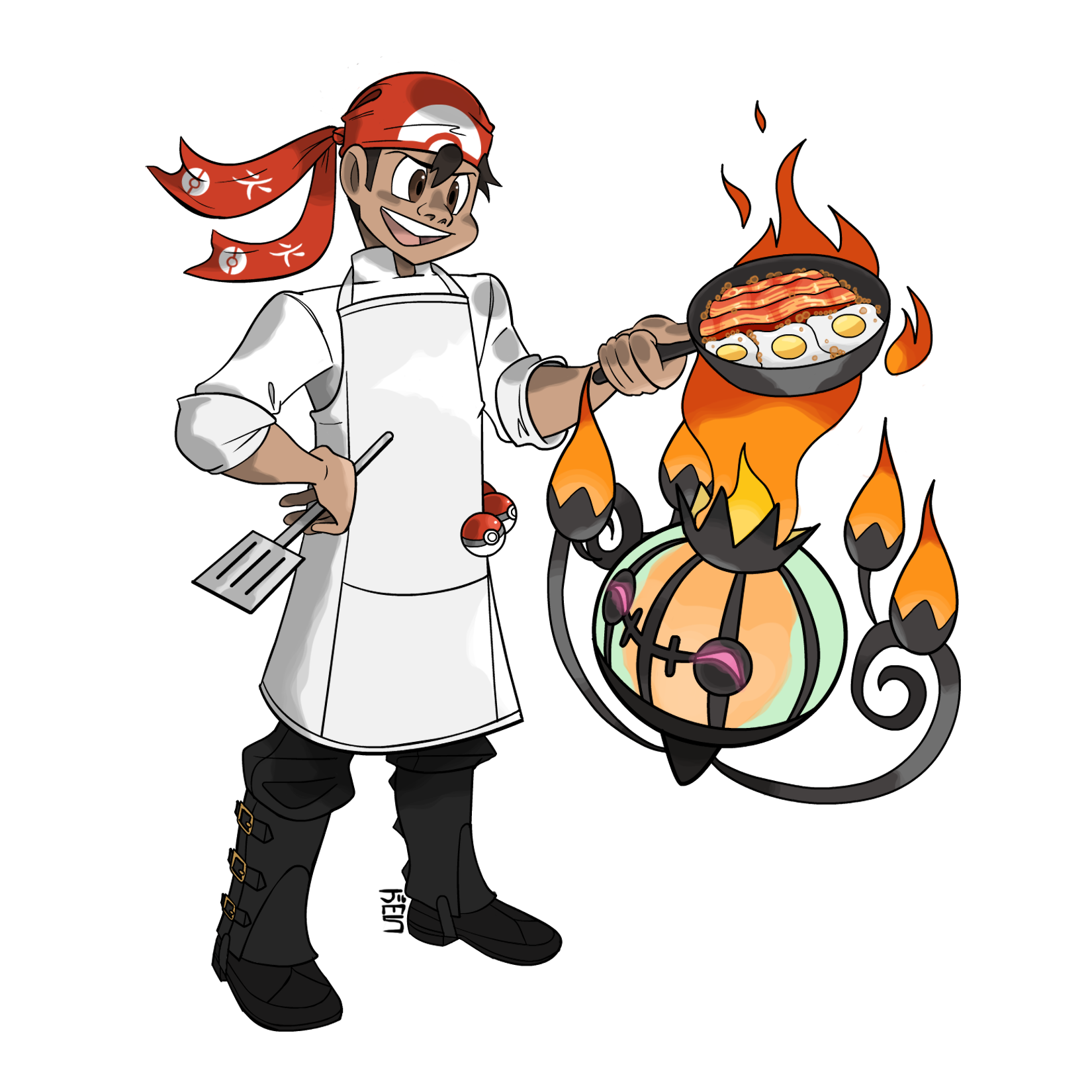 Pokemon Chef with a Ghost Type Pokemon. Ghost type