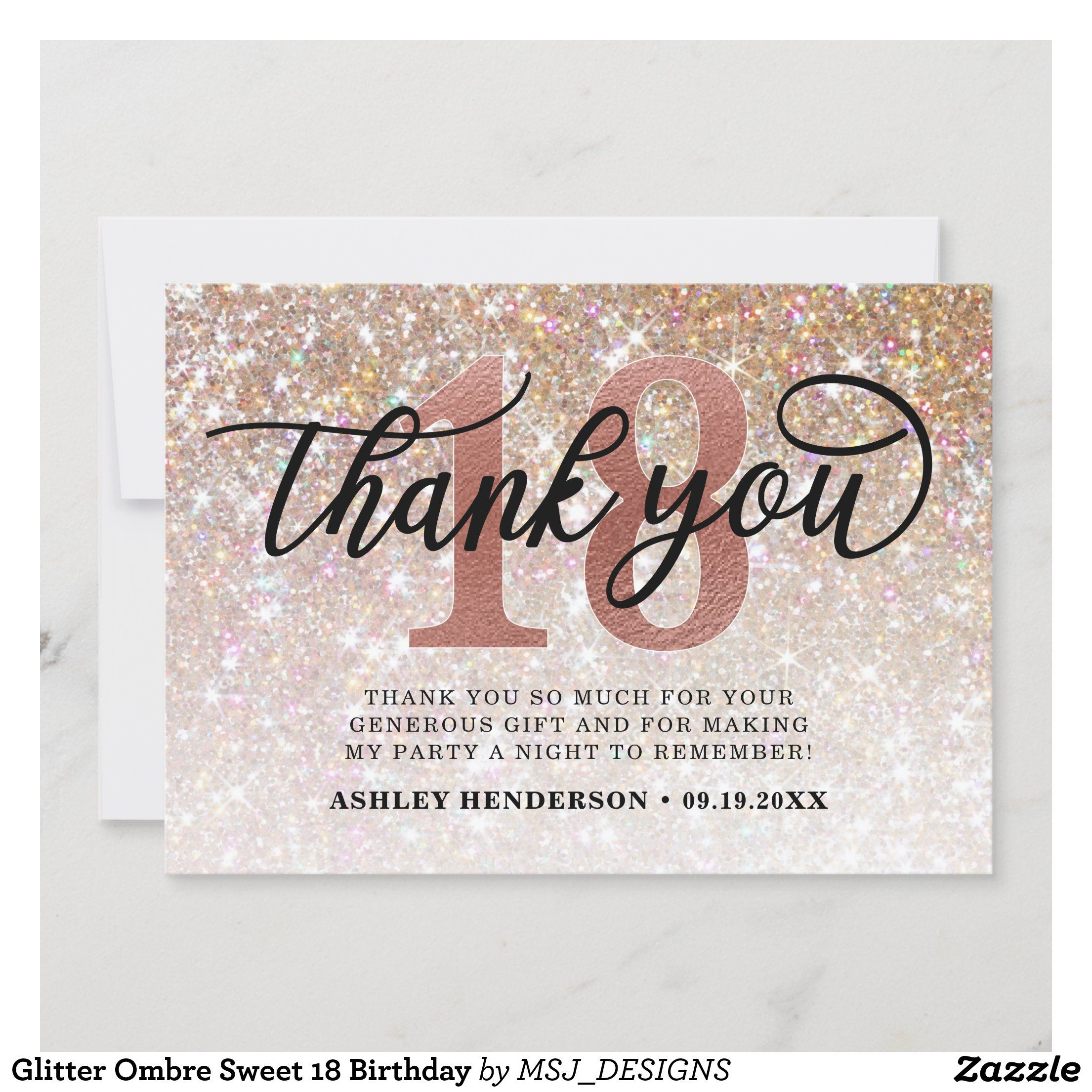 Glitter Ombre Sweet 18 Birthday Thank You Card Zazzle Com In 2021 Birthday Thank You Cards Birthday Thank You Thank You Card Size