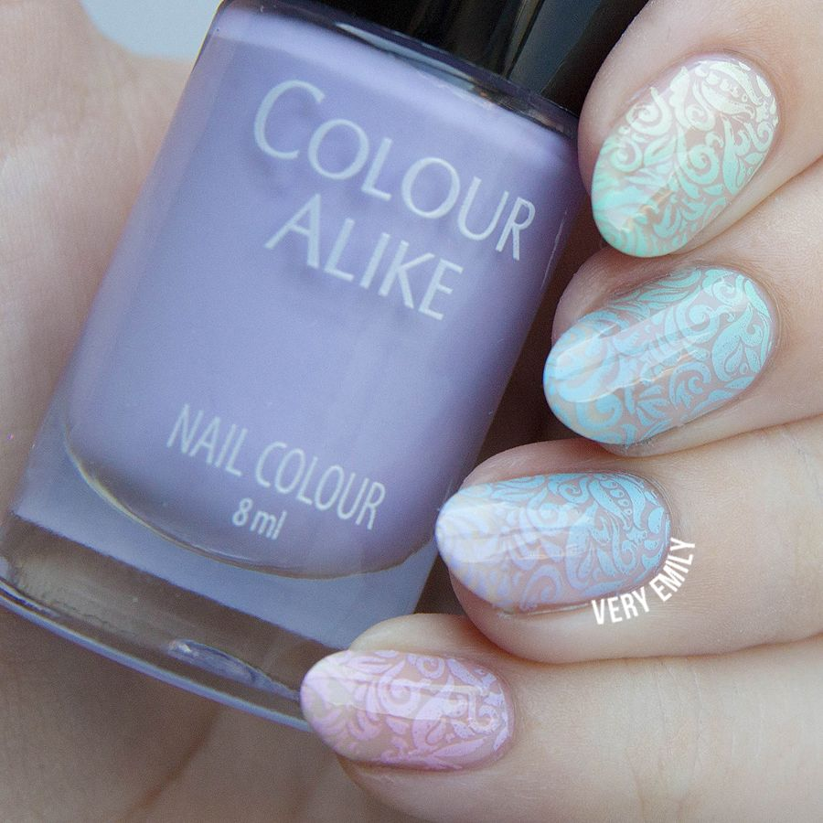 Gradient Stamping ~ with Colour Alike pastel stamping polishes and B. Loves Plates – Classy & Chic stamping plate ~ by Very Emily »