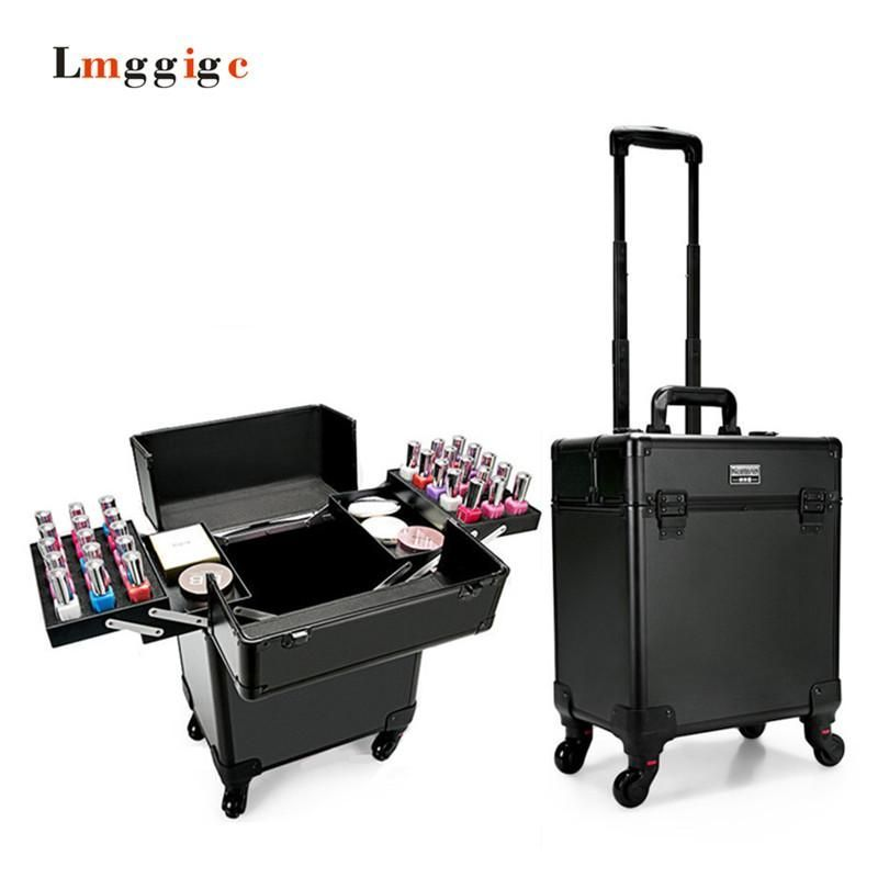 Vanity Suitcase With Lights Multilayer Cosmetic Bags Trolley Makeup Vanity Case Nail Care Beauty