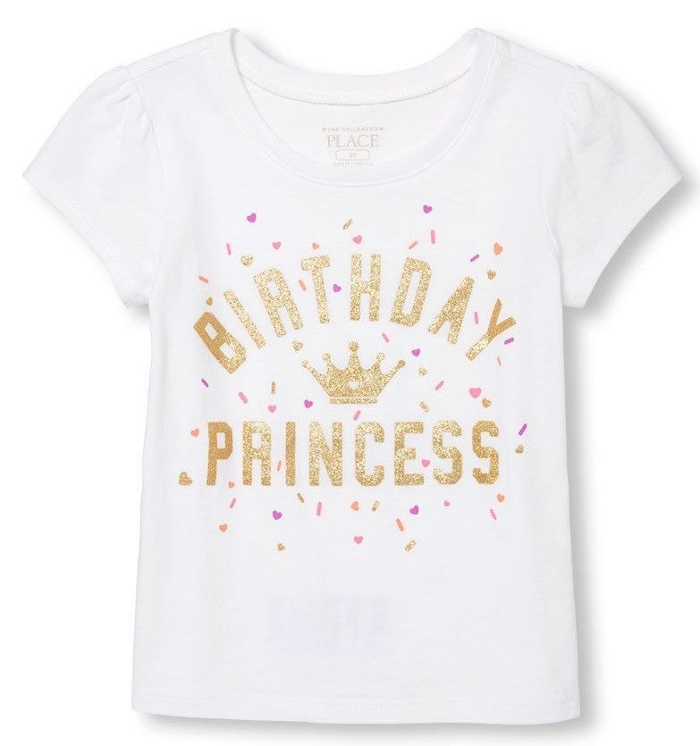 Toddler Girls Birthday Princess Shirt New W Tags Size 3T Sparkle Accents Kids ChildrensPlace BirthdayPartyDressyEverydayHoliday