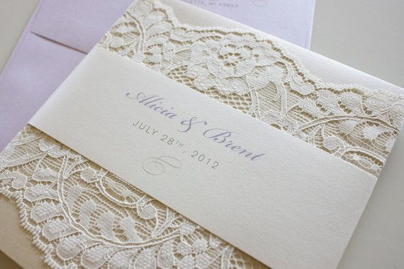 Lace Wedding Invitation Alicia Brent soft lace ivory cream