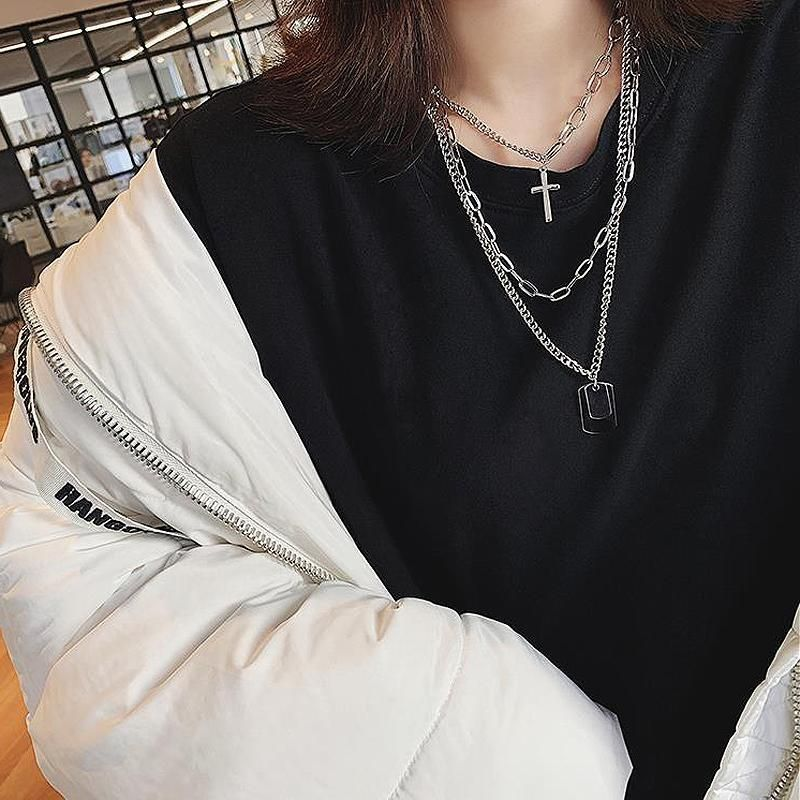 Cross Military Badges Silver Metallic Chains Necklace Fashion Hipster Outfits Chains Necklace