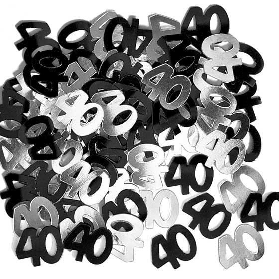40th birthday Party decorations confetti Anniversary Black And