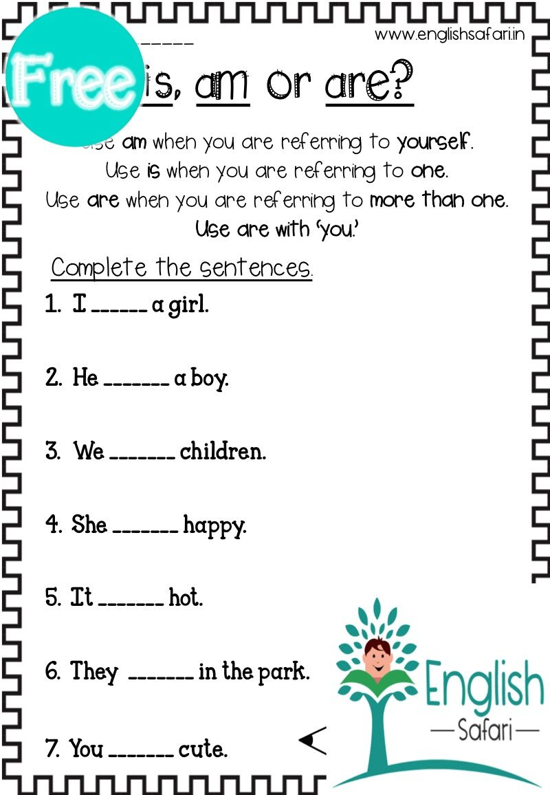 small resolution of FREE** is am are worksheet www.englishsafari.in   Linking verbs