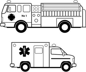 Publicdomainvectors Org Ambulance And Fire Truck Line Art Vector Image Fire Trucks Line Art Vector Fire Truck Drawing