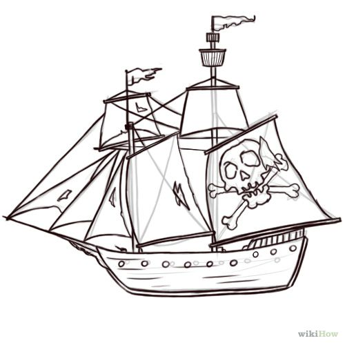 how to draw a pirate ship 8 steps with pictures wikihow Portuguese Caravel Ship how to draw a pirate ship 8 steps with pictures wikihow