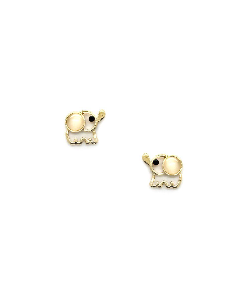 Eye Candy LA Gold Trunk Elephant Stud Earrings | zulily