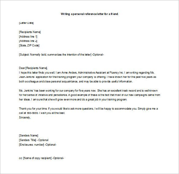 How To Write A Letter Of Recommendation For A Friend Template