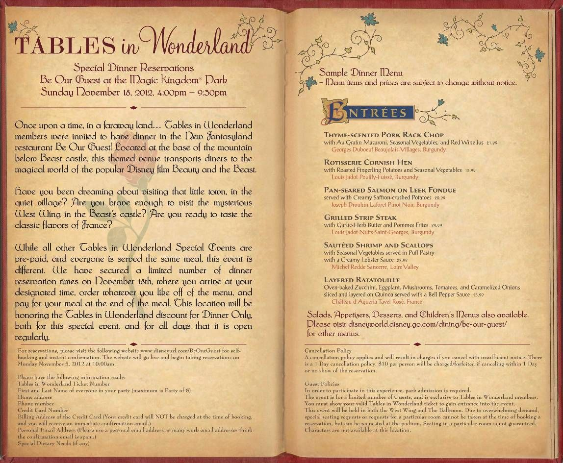 Tables In Wonderland Be Our Guest Restaurant Event