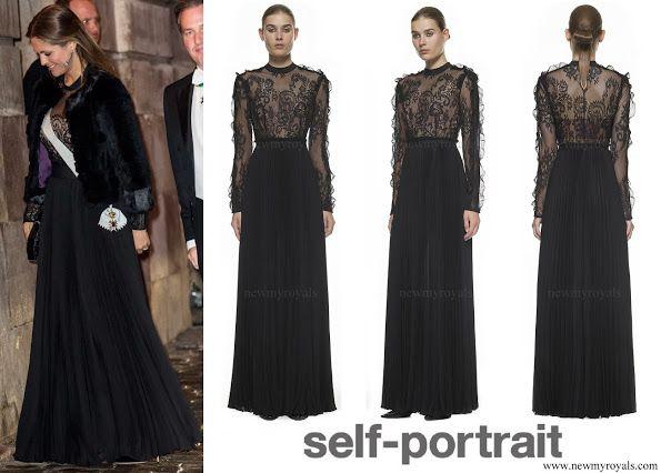Self-Portrait Moni black Lace and Pleated Crepe Maxi Dress