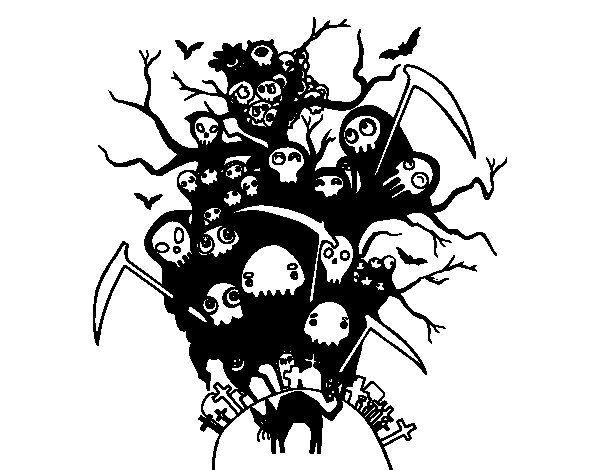 Dibujo De Noche De Halloween Para Colorear