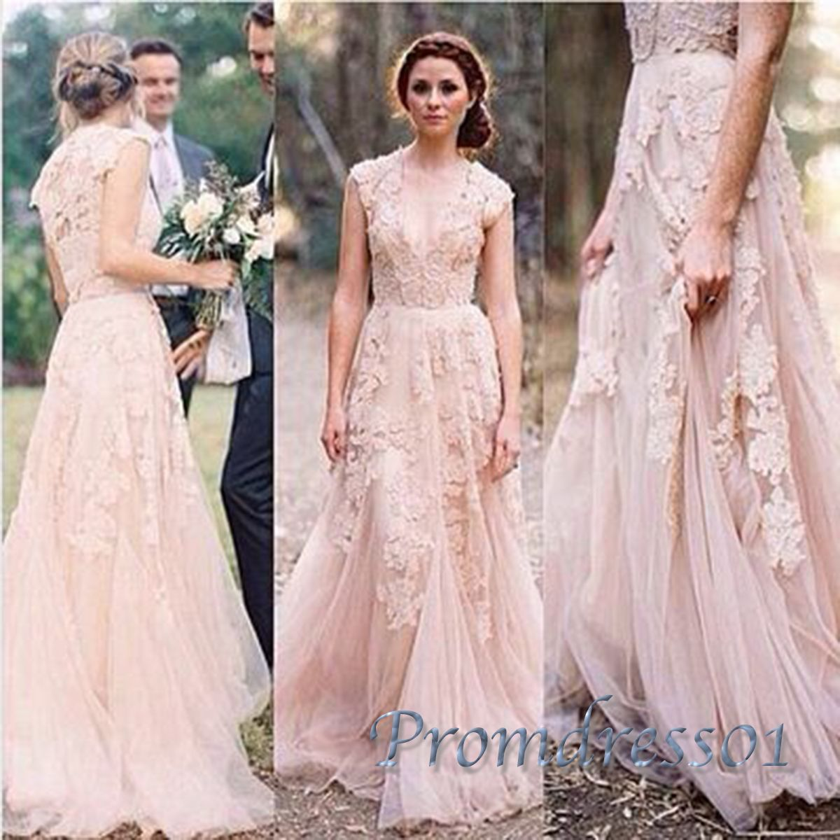 Ball gowns wedding dress, beautiul lace applique long modest prom ...