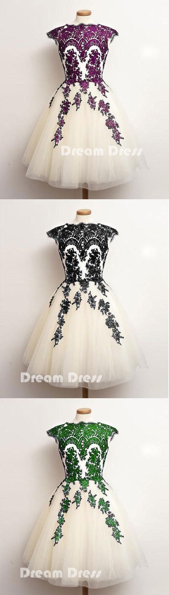 Unique lace tulle short prom dress lace bridesmaid dressespd
