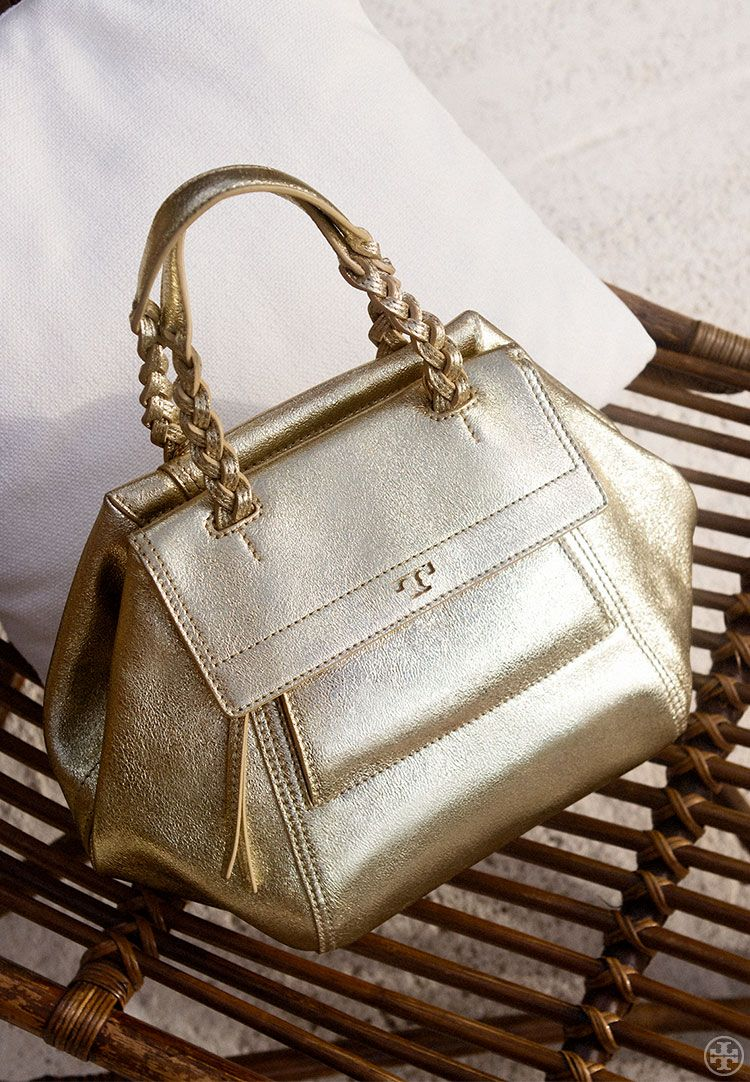 5f54e45c32f25 ... easy slouch  The Half-Moon Metallic Small Satchel is a compact yet  roomy shape — and a festive take on one of Tory s favorite styles. Made of  crinkled